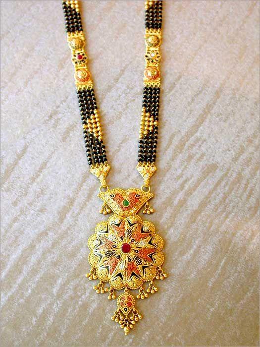 Latest Black Beads Work Mangalsutra Designs1