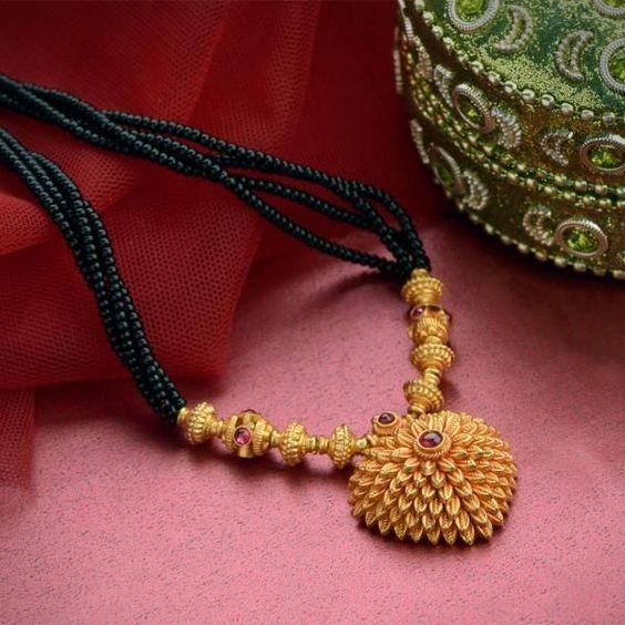 Latest Black Beads Work Mangalsutra Designs10