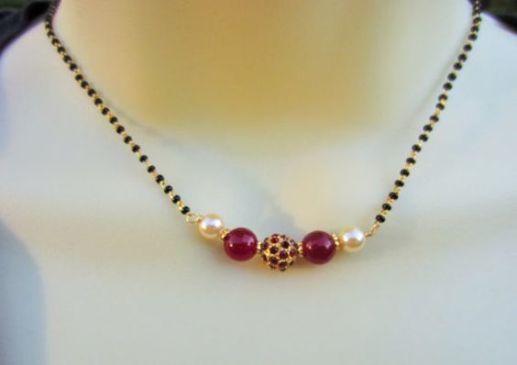 Latest Black Beads Work Mangalsutra Designs11