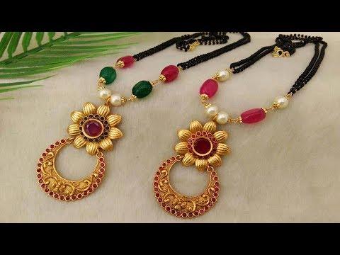 Latest Black Beads Work Mangalsutra Designs18