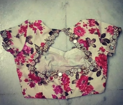 floral printed cloth with mirror work