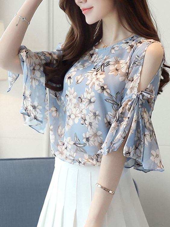 stylish short top with floral print