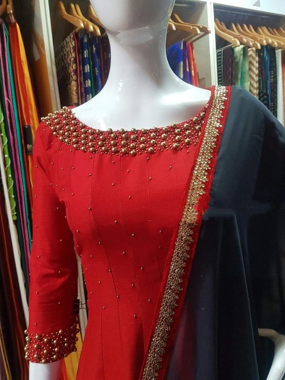 red kurti with pearls