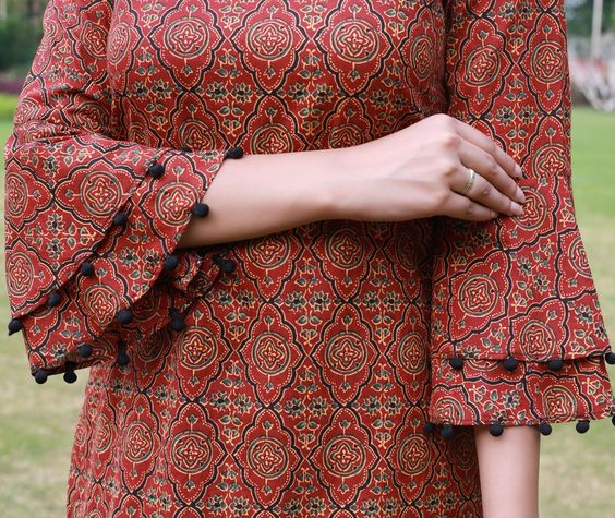 cotton kurti with two layered bell sleeve