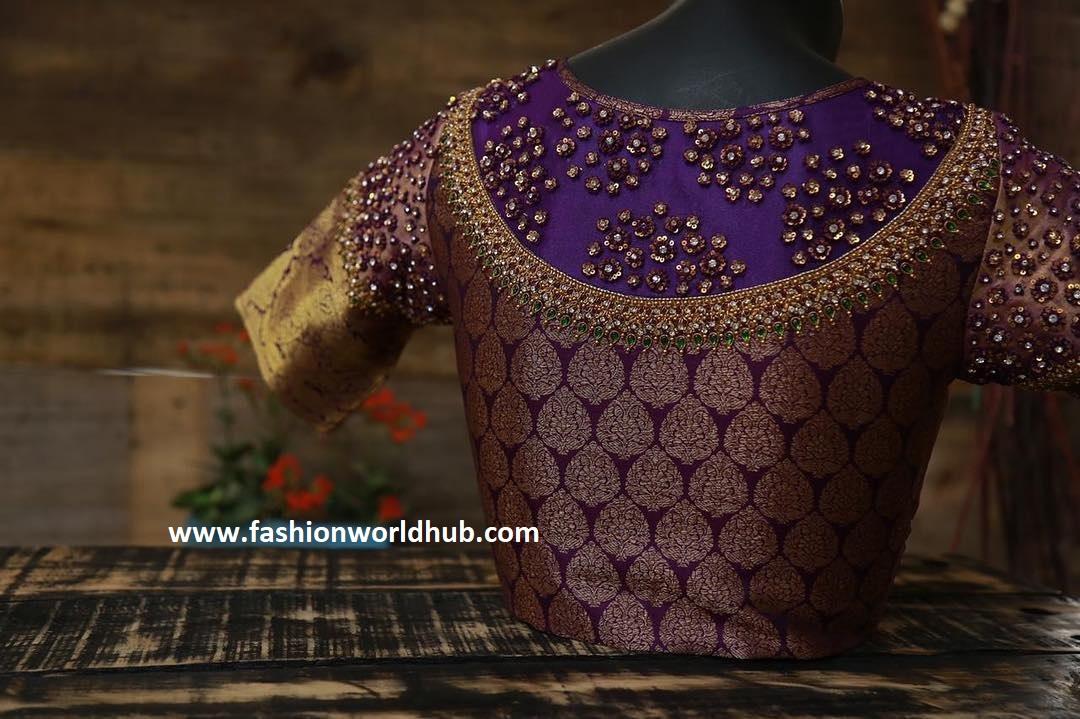 violet silk blouse design