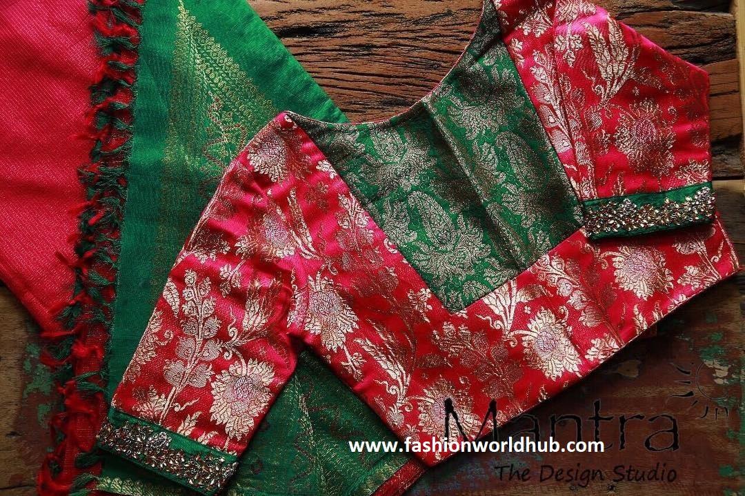 green rd combination blouse design
