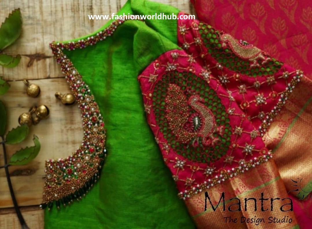 green blouse design