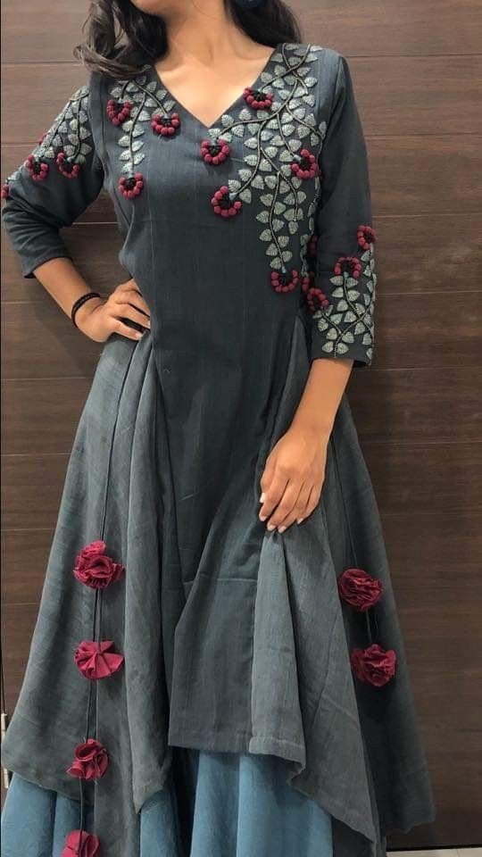 ash kurti with floral embroidery design