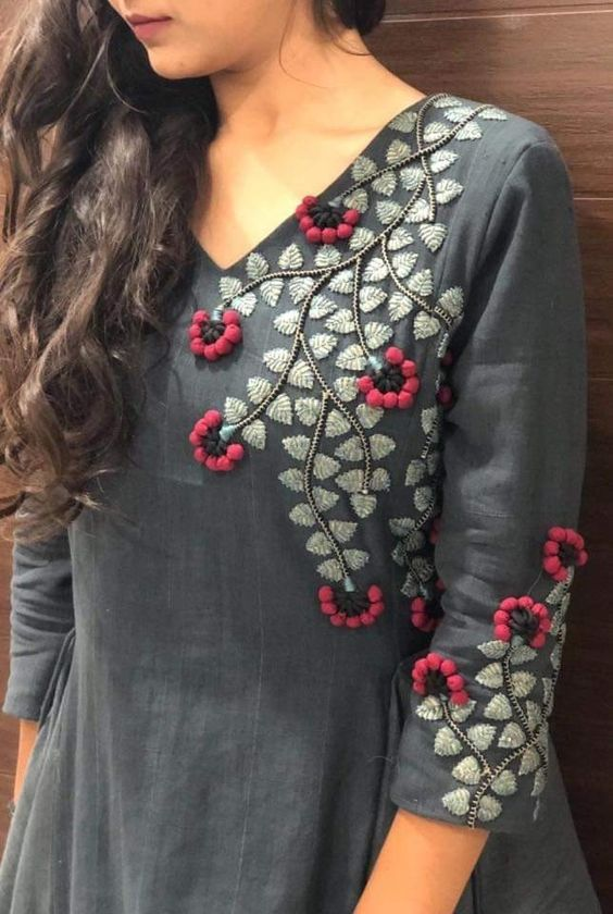 ash kurti with floral embroidery
