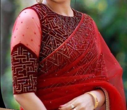 red velvet blouse design