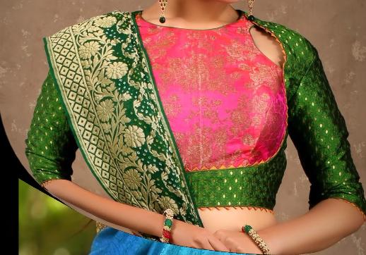 green silk saree blouse