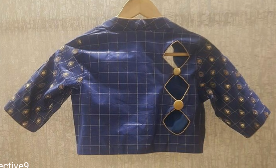 high neck blue blouse with back diamond cutting