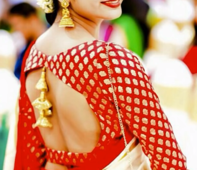red silk saree blouse with back deep cut