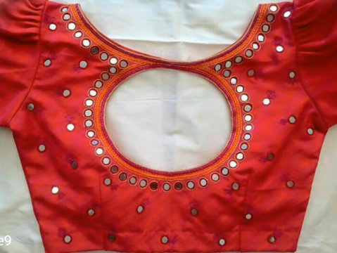 red blouse with mirror work