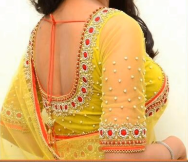yellow blouse with elbow sleeve
