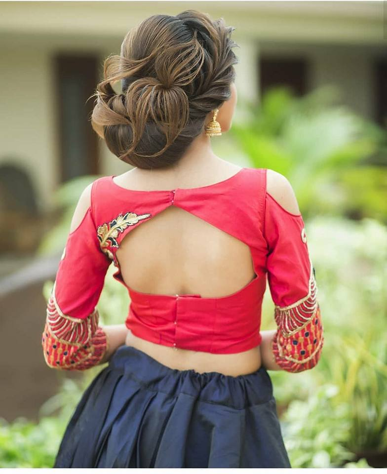 red elbow sleeve blouse design