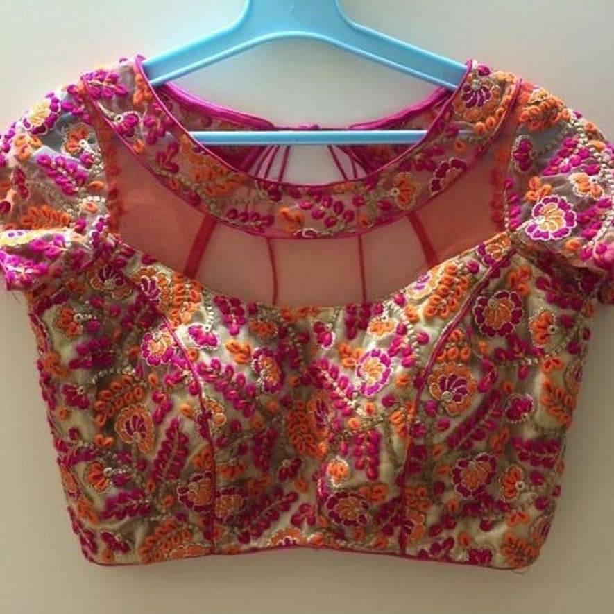 princess cut blouse with floral design