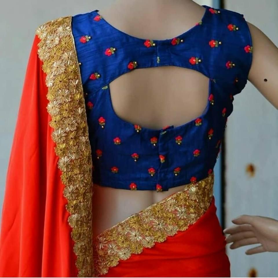 blue beautiful blouse design
