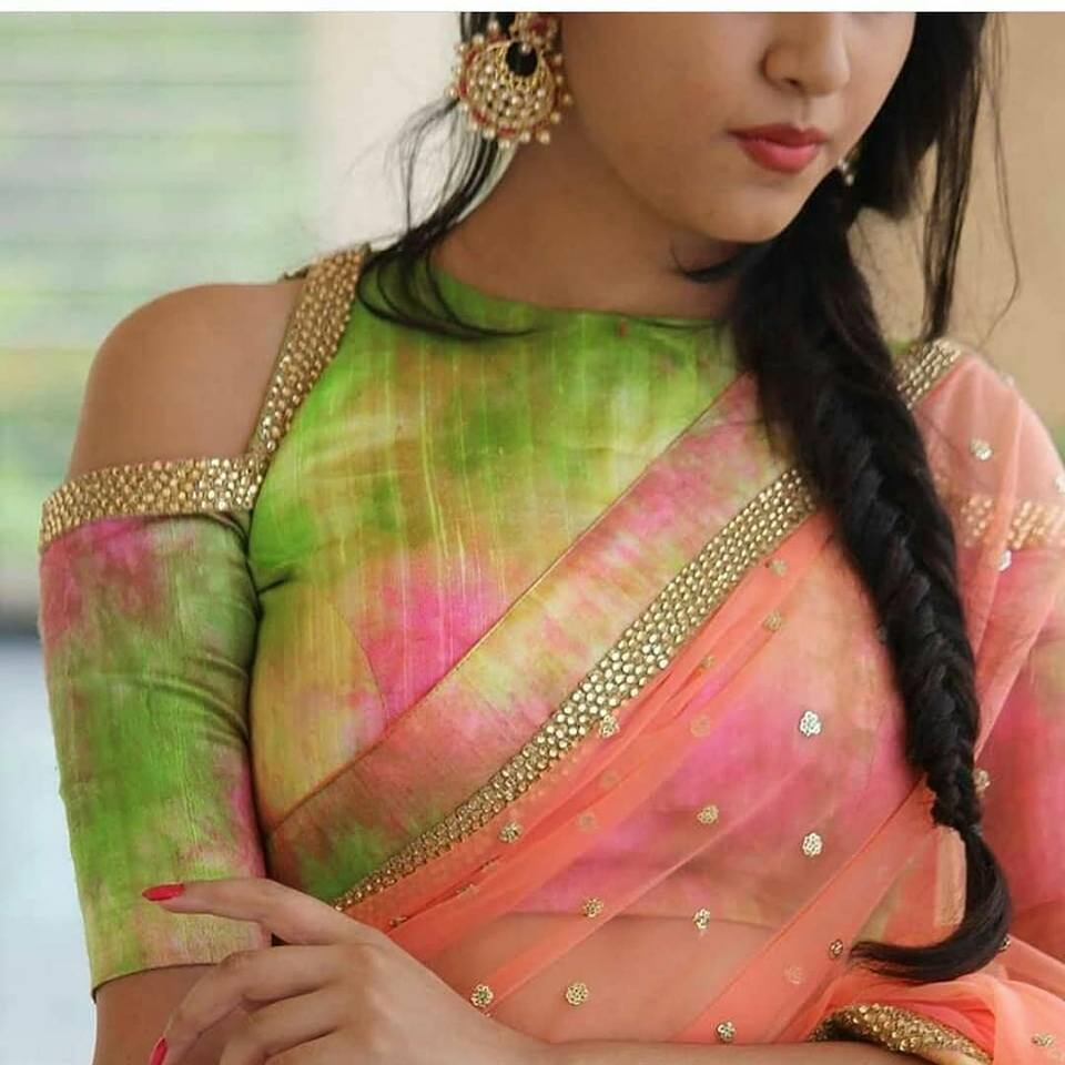 multi color blouse with cutting on shoulder