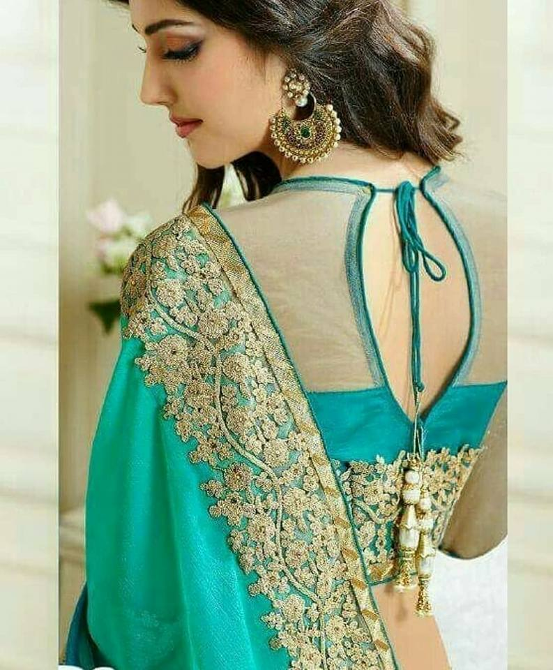 turquoise blue blouse with net neck