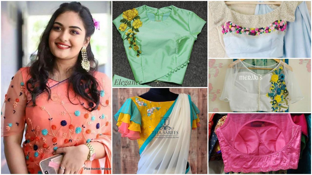 Trendy Saree Designer Blouse Ideas