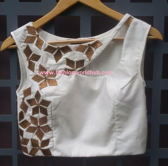 sleeveless designer off white blouse design