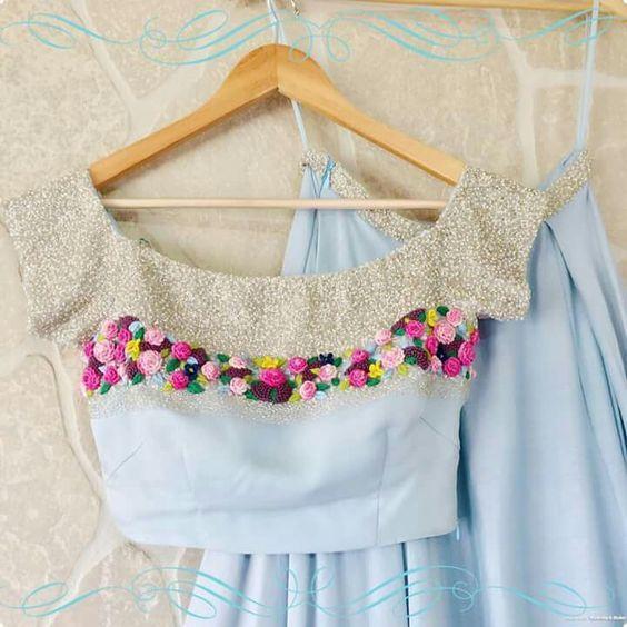 designer neck work skirt blouse design