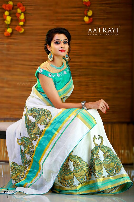designer green blouse with high neck