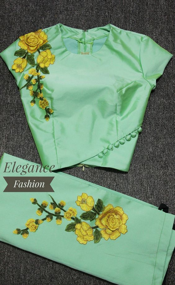 veriety pista green blouse with floral embroidery