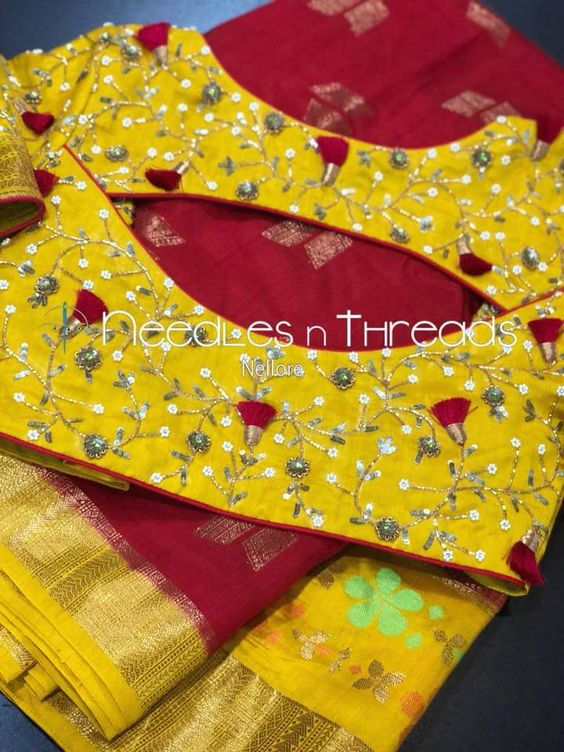 worked yellow blouse design
