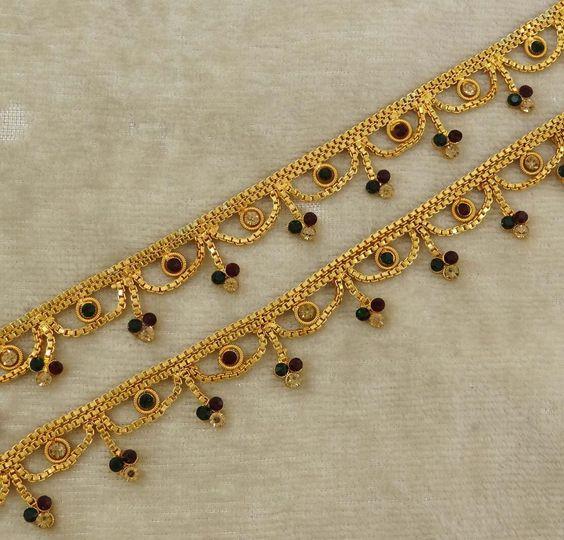 Bridal Gold Anklet Designs12