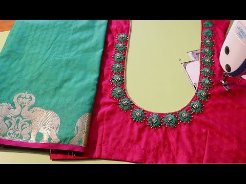 Hand Embroidery Neck Design for Silk Saree Blouse1