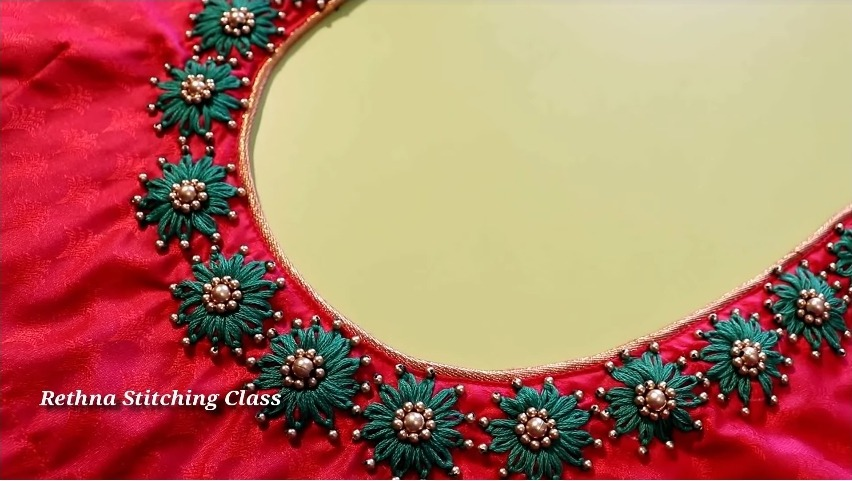 Hand Embroidery Neck Design for Silk Saree Blouse2