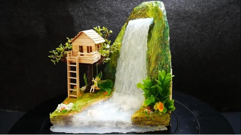 Hot Glue Waterfall Mini House1