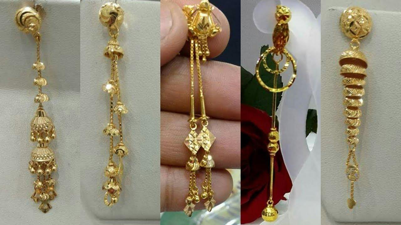 Light Weight Gold Dangling Earrings Designs