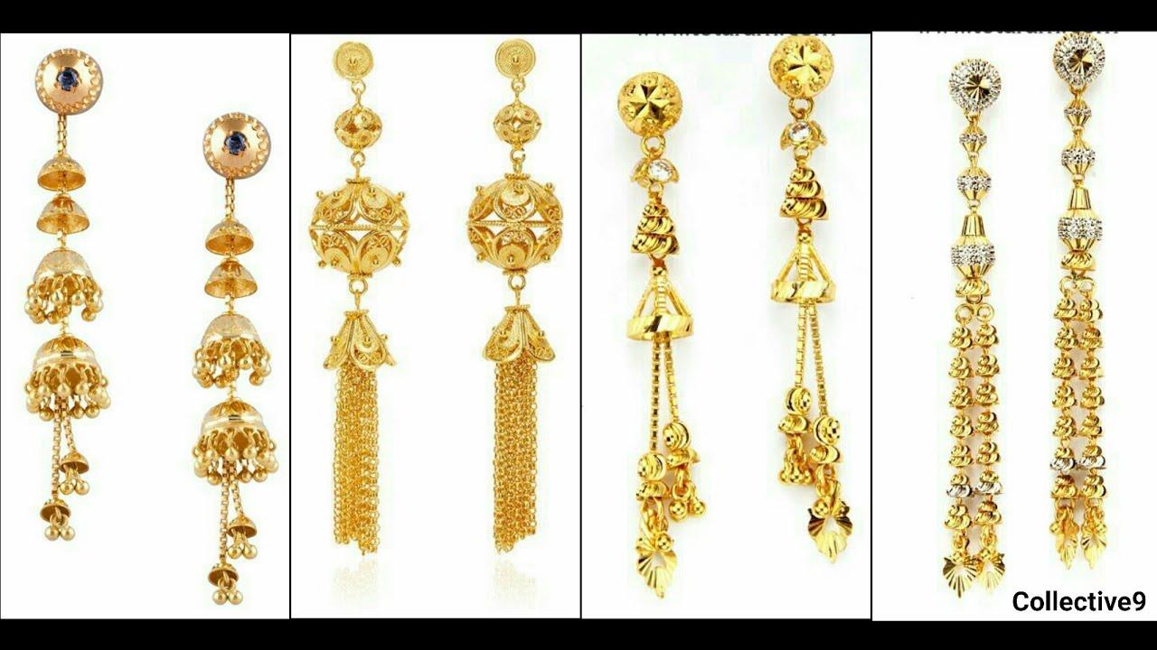 Light Weight Gold Dangling Earrings Designs4