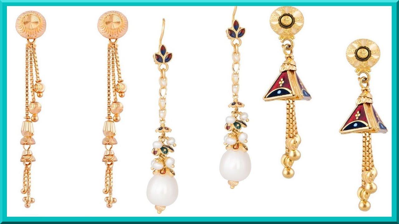 Light Weight Gold Dangling Earrings Designs5