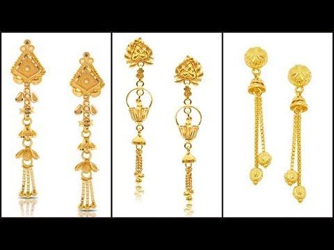 Light Weight Gold Dangling Earrings Designs6