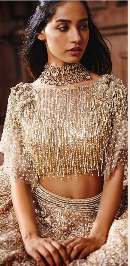Blouse designs with 3D embroidery1