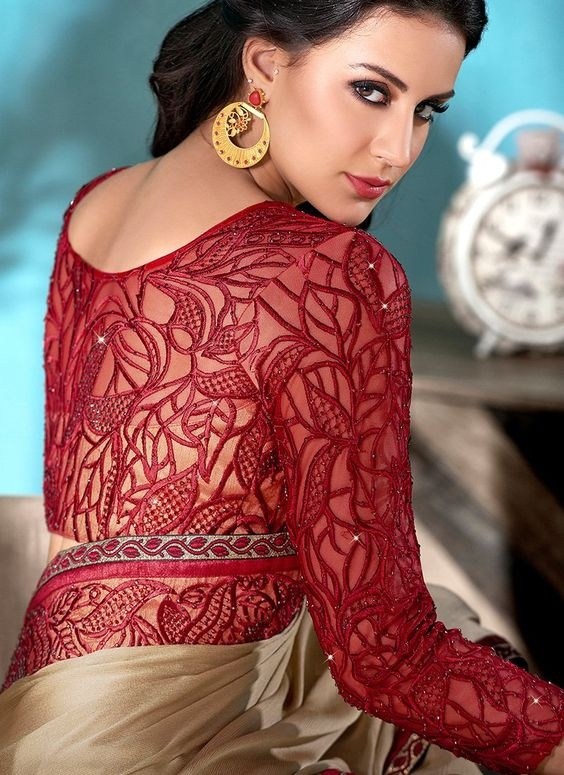 Blouse designs with lace embroidery2