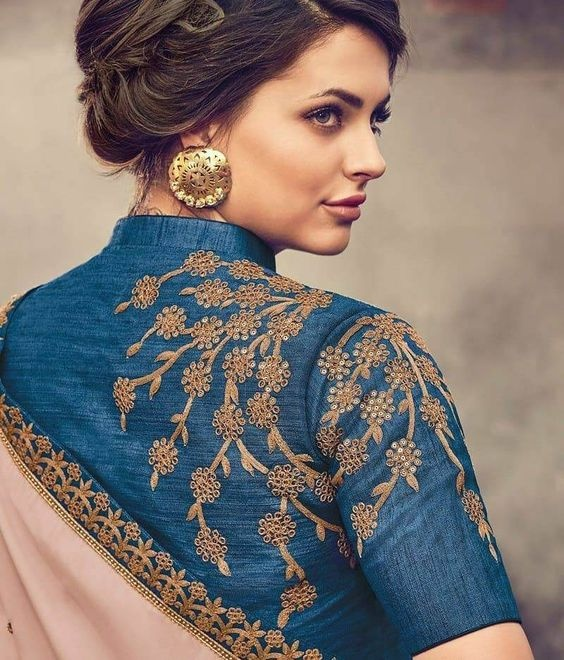 Blouse designs with lace embroidery4