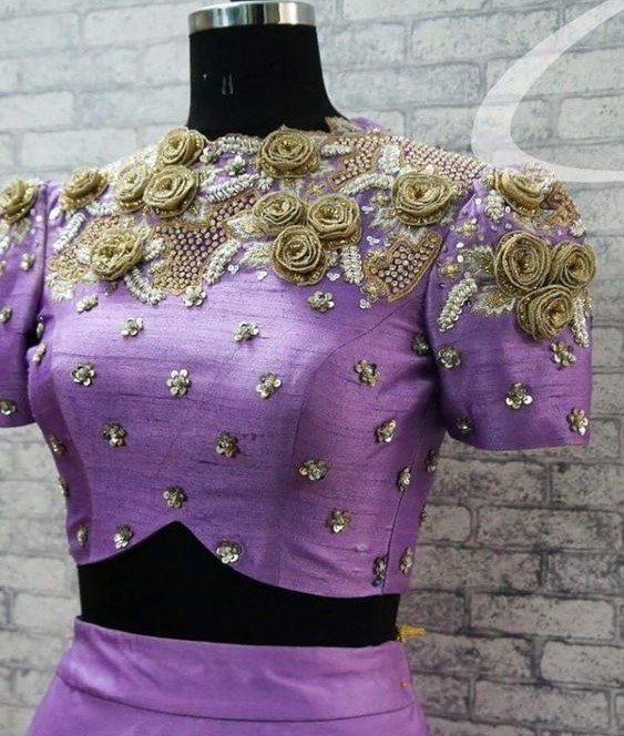 Blouse designs with 3D embroidery2