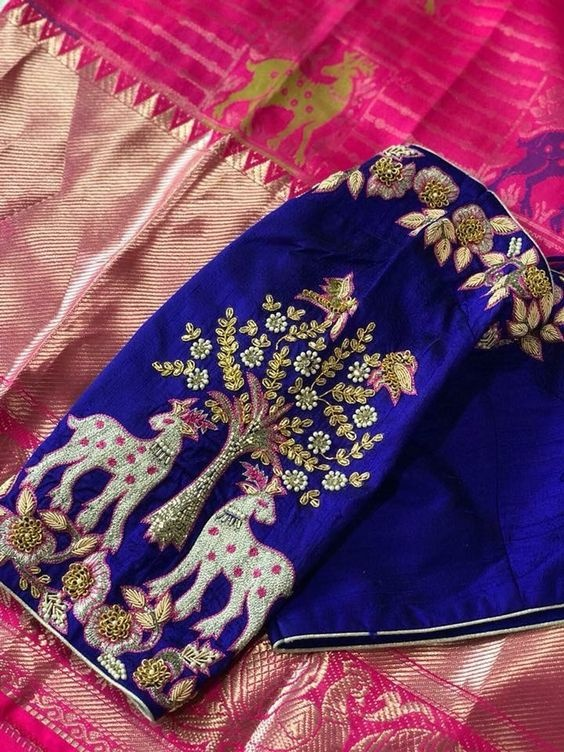 Maggam blouse embroidery designs for pattu sarees1