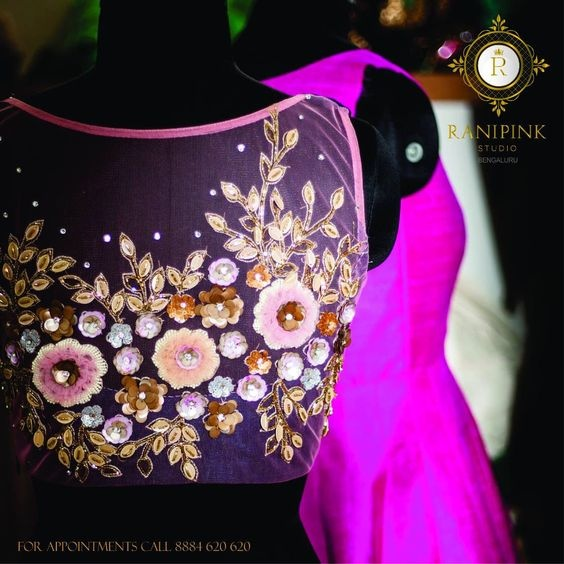 Blouse designs with 3D embroidery3