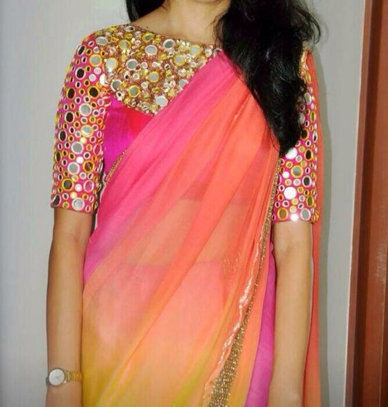 Mirror work blouse embroidery designs3