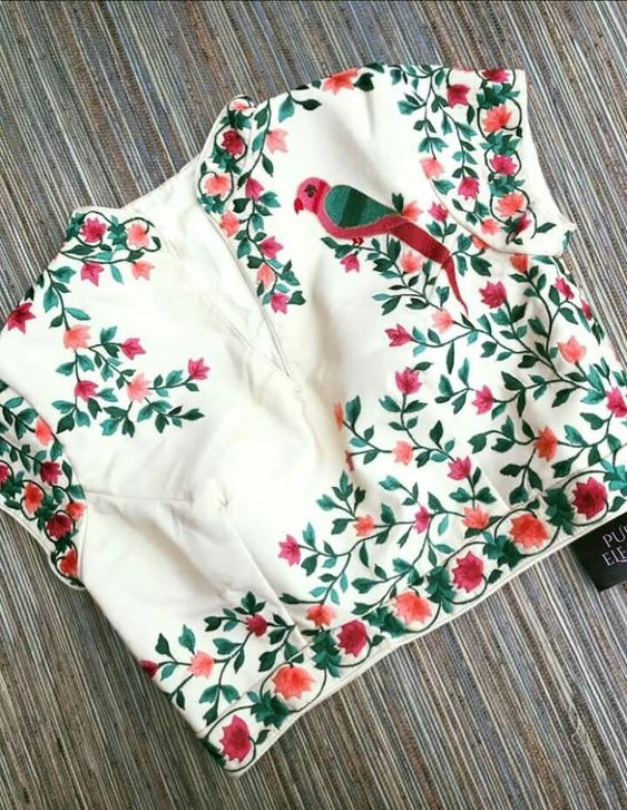 Blouse designs with brasso embroidery2