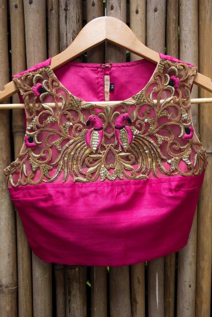 Blouse designs with brasso embroidery1