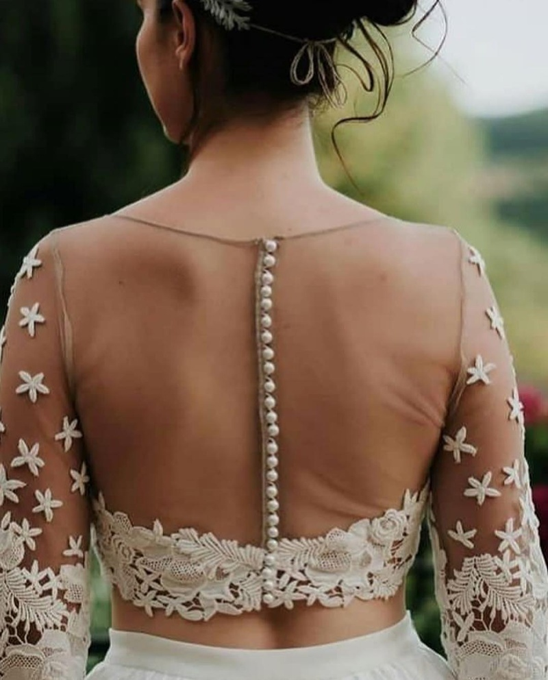 Sheer back blouse with lace details
