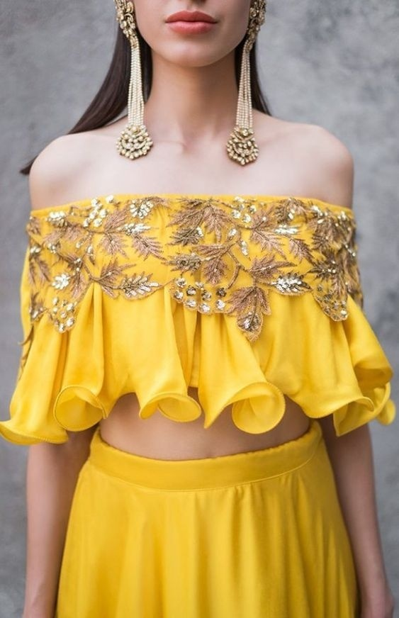 Off-shoulder blouse pattern with frills and embroidery
