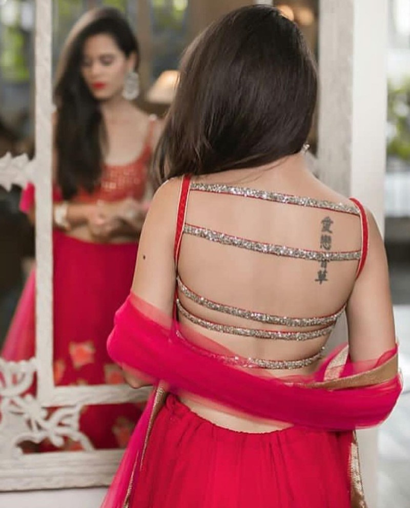 Strappy backless latest lehenga blouse design